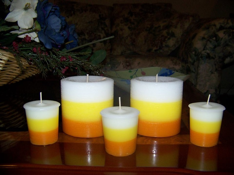 Candy Corn Votive Candles 6 pack