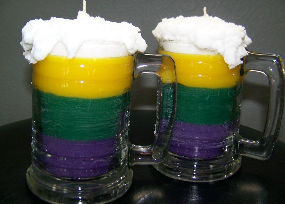Mardi Gras Beer Mug Candles
